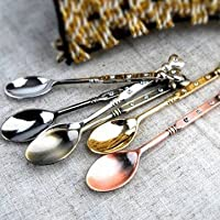 Retro Heart-Shaped Mini Stainless Steel Tableware Teaspoons (Gold)