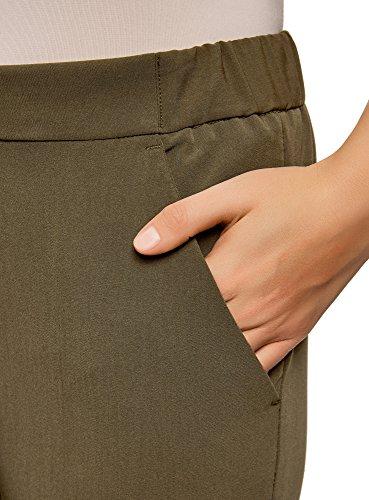oodji Ultra Damen Enge Hose mit Elastischem Bund Grün (6200N)