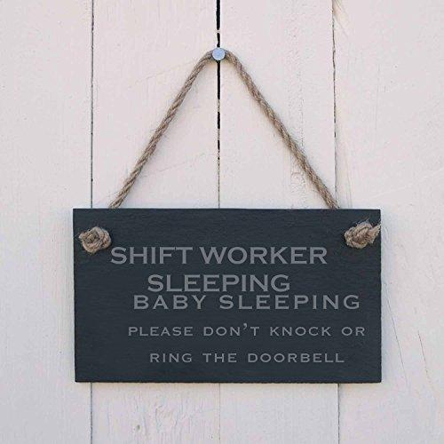Monsety Vintage Holz Schild Shift Worker Schlafendes Baby Schlafen Please Don 't Knock Oder Klingeln, Home Decor Art Wand Plaque Geburtstag Geschenk -
