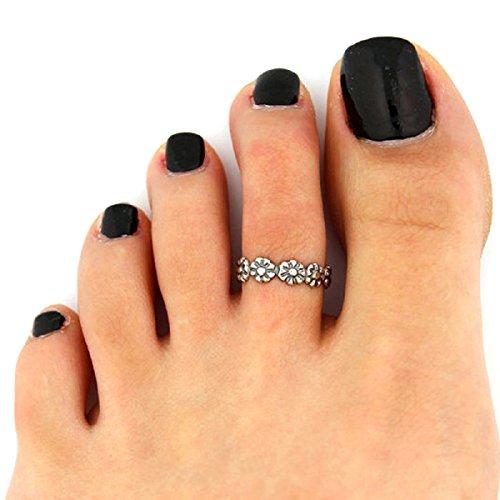 Malloom®Joyería caliente de la venta, 2 piezas mujer metal retro plata ajustable toe anillo