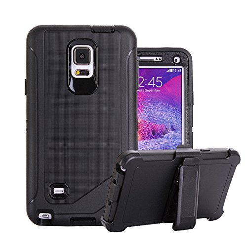 Galaxy Note 4 Fall, harsel Defender Series Heavy Duty High Impact Tough Rugged Armor Hybrid Schutz Military mit integriertem Gürtelclip Displayschutzfolie Schutzhülle für Samsung Galaxy Note 4/N910, 7