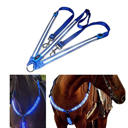Kenyaw LED Pferdegeschirr,Pferdegeschirr Pferde Brustgurt Robuste und Komfortable Sicherheitsausrüstung Beste Sichtbarkeit beim Reiten für sichtbares Pferd(Blau)