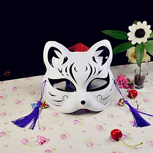 Yuejiancaos Anime-Cosplay Der Japanischen Art Der Fuchsmaske Halbe Gesichtsmaske Japanische Kabuki Dekorative Thema-Masken-Parteidekoration(4)