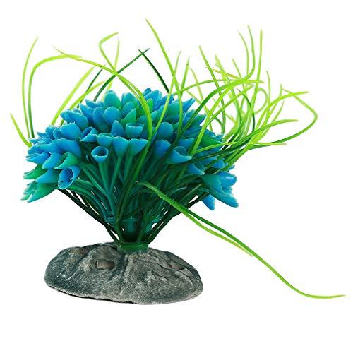 L_shop Künstliche Wasserpflanzen Künstliches Wasser Gras Aquarium Dekoration Aquarium Gras Landschaft Ornament, Blau -