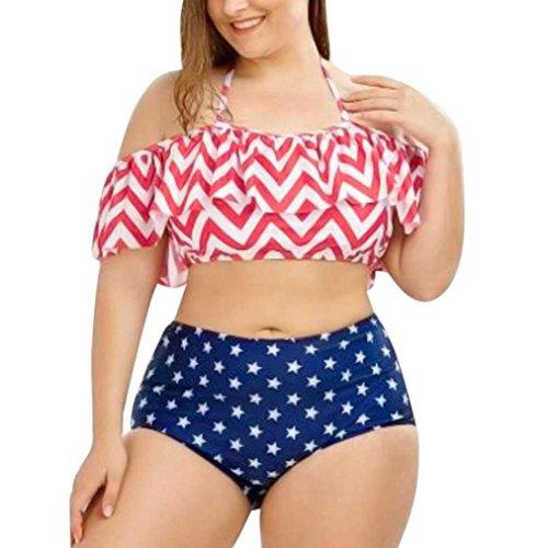 Badeanzug Plus Größe Frauen gedruckt Schulterfrei Bademode Bade Rüschen Badeanzug Beachwear Tops + Unterhose (5XL, mehrfarbig) (Streifen-hose Im Plus Set)