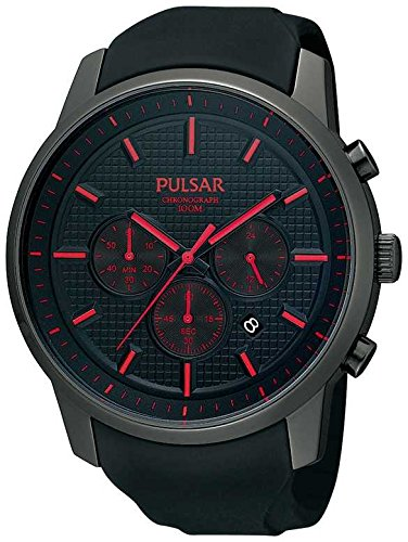 Pulsar Uhren Herren-Armbanduhr XL Modern Chronograph Quarz Kautschuk PT3195X1 (Pulsar-kautschuk-armband-uhr)