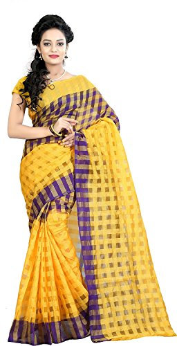 I-Brand Women's Cotton Silk Saree With Blouse Piece (Isunsa600_Yellow)