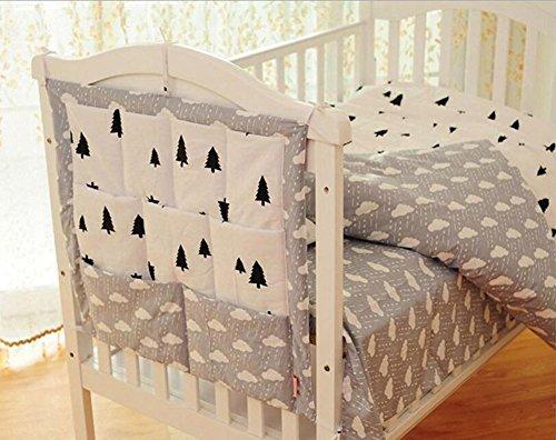 HENGSONG Kinderzimmer Mehrschichtige Beutel Organizer Baby-Bett Krippe Windeln Spielzeug Hängender Beutel Aufbewahrung Tasche 55*60CM (Grau)