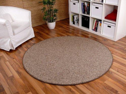 Berber Natur Teppich Wolle Malta Braun Rund in 7 Größen, Größe:200 cm Rund