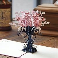 BC Worldwide Ltd Hecho a mano 3D pop-up tarjeta florero rosa cumpleaños compromiso de boda graduación aniversario bebé nacimiento Navidad día de San Valentín día de las madres día del padre bebé recién nacido tarjeta de acción de gracias para él su amiga familia