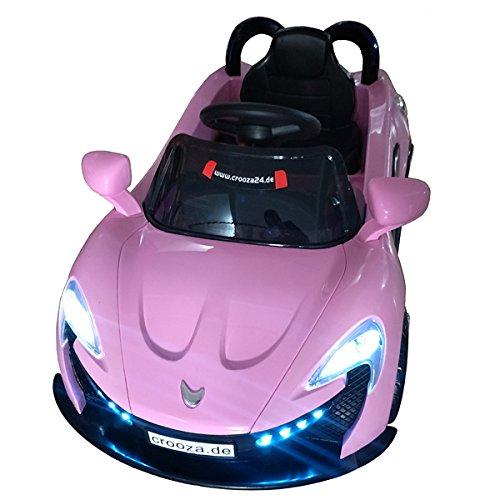 ferrari kinderauto Roadster mit 2x Motoren mp3 LED Elektro Kinderauto Kinder Auto Elektroauto Elektrofahrzeug (Schwarz / Weiss / Rot) (Pink/Rosa)