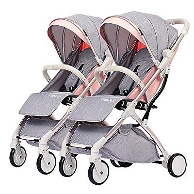 NAUY @ Cochecito de bebé Gemelo, Carro de niño Desmontable, Marco de Carro de Plata de la aleación de Aluminio del Carro Doble Plegable Ligero Ligero Sillas de Paseo