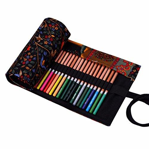 ouneed-36-couleur-retro-trousse-a-crayon-enroulable-46cm195cm-noir