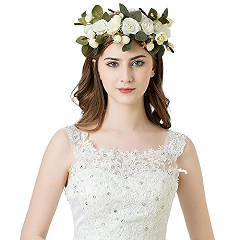 AWAYTR Frauen Mädchen Blumen-Kranz Stirnband Blumen Krone Garland für Festivals (Weiß)