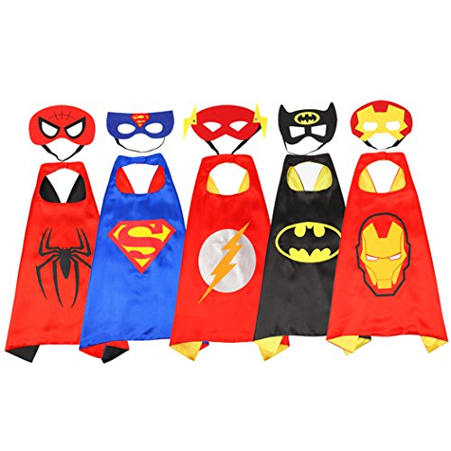 Rosfajiama Superhero Dress Up Costumes for Boys and girls set of 5 pieces Satin Capes with Felt Masks Comics Cartoon Dress Up Kids ()