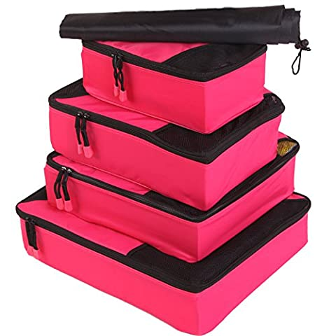 Fubevod Packing Cubes 4pcs Luggage Organizers for Travel with Laundry Packing Bag Rose Red