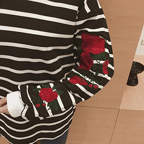 MORCHAN Femmes Collier à rayures à col rayé en tunique O-Neck broderie rayée blouse Casual Tops Noir