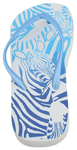 Sandrocks Ladies Zebra Stampa Flip Flop Blue