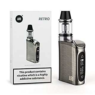 Auro 60W Retro E Shisha Zigarette Box Mod, Top Refill Verdampfer + TC/VW Mode, ohne Nikotin (Schwarz)