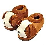 XIU Pantoffeln,Damen Baumwoll-Hausschuhe,Paar warm und süß All-Inclusive mit schließenden Cartoon Tierschuhe, braun