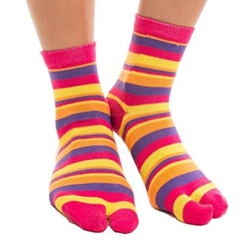 V-Toe Tabi Flip Flop Socks - Stripes, Solids and Patterns Two Toe Flip-Flop Socks