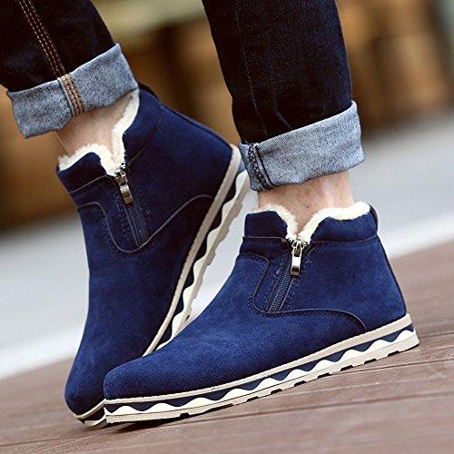 Minetom Herren Warm Plüsch Kurzschaft Britischer Stil Schneeschuhe Winterstiefel Gummistiefel Reißverschluss Chelsea Boots Flache Schuhe Blau