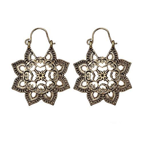 YEARNLY Damen Hängende Mandala Ohrringe böhmischen ethnischen Stil Openwork Blumenmuster Blumenform herzförmige Ohrringe