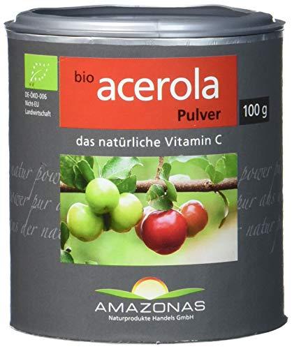 Amazonas Bio Acerola Pulver, 100 g, Qualität durch langjährige Erfahrung, nur 2 g Pulver liefern 340 mg natürliches Vitamin C, ohne synthetische Zusätze,Direktimport aus dem Amazonasgebiet.
