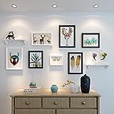HJKY Photo Frame Wall Set El sofá en el salón pinturas murales del estilo nórdico pintura mural pintura mural combinada American restaurante moderno y minimalista, murales de 2-4 m de 25 mm de espesor de pared, en blanco y negro + bandeja incorporada en combinación