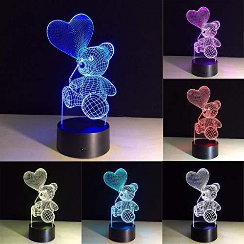 er geschenke für kinder frauen mama mädchen smart touch & fernbedienung 7 farbe 3d illusion lampe tier licht kinder led schreibtischlampen (Teddybär-Ballon) ()