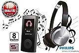 Reise Set - S2-digital 8GB MP3-Player SMART15 Schwarz & Philips SHL9450 Kopfhörer mit Bügel