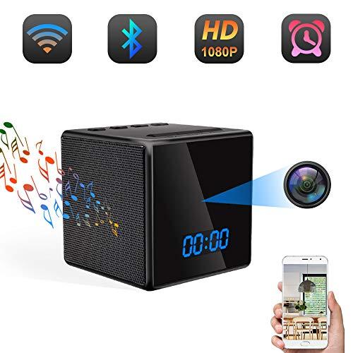 Caméra Espion WiFi TANGMI Camera Cachee Enceinte Bluetooth Réveil 1080P HD Micro Caméra de...