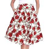 Luxspire Mujeres Estilo Retro Falda Plisada con Estampada Floral de Talle Alto, Falda Midi de Alta Cintura, Blanco, M