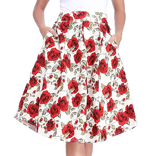Floral Pleated Skirt (Luxspire Women's Retro High-Waisted Floral Print Pleated Skirts A-line Midi Skater Skirt, White, 2X-Large)