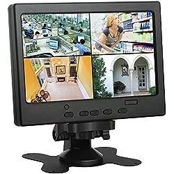 """Koolertron 7"""" Moniteur CCTV Écran LCD avec HDMI/VGA/AV Port Support 1080P pour DSLR/PC/ Caméra de Vidéosurveillance/DVD/Voiture/ Domicile Bureau Système de Sécurité de Surveillance"""