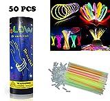 HHD® Lot de 50 Bâtons lumineux fluorescents, Glowsticks, Fluos Lumineux! Bracelets fluorescents lumineux, 5 couleurs différentes avec connecteur ! Couleurs tendance! 200mm x 6mm. Idéal pour le fête!