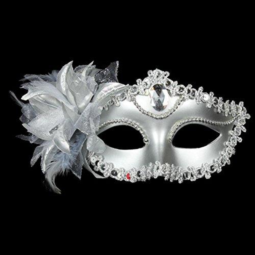 Busirde Halloween-Halbe Gesichts-Maske mit Federn Fancy Ball-Prinzessin Mask Masquerade Masken