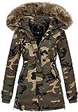 Navahoo Damen Designer Winter Jacke warme Winterjacke Parka Mantel B638 [B638-Pauline-Camo-Gr.S]