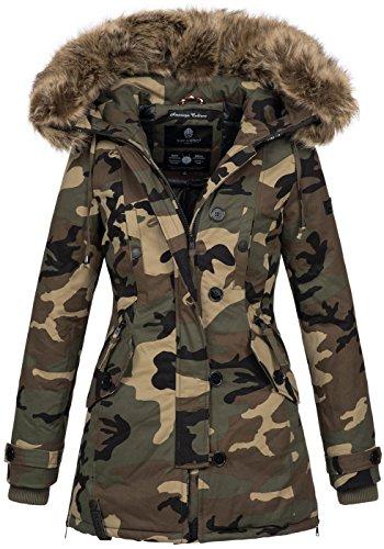 Camo-jacke (Navahoo Damen Designer Winter Jacke warme Winterjacke Parka Mantel B638 [B638-Pauline-Camo-Gr.XXL])