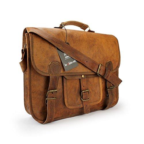 A.P. Donovan - Leder-Schulter-Tasche handgefertigt - robuster Messenger Bag im vintage Look - Laptop-Büro-Akten-Umhänge-Tasche mit Tragegriff (Longchamp Schulter Tasche)