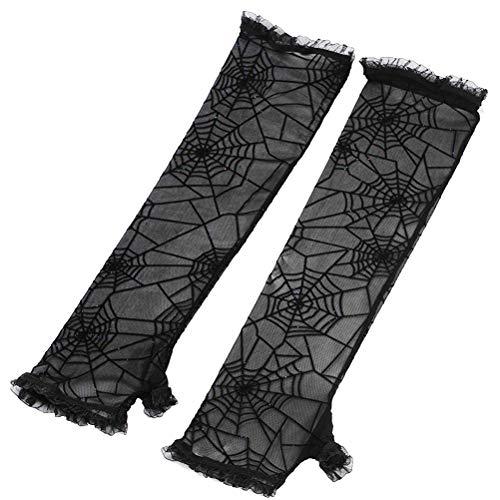 BESTOYARD Halloween Spinnennetz Handschuhe Fingerlose Handschuhe Halloween Kostüm Cosplay Party Handschuhe (Schwarz)