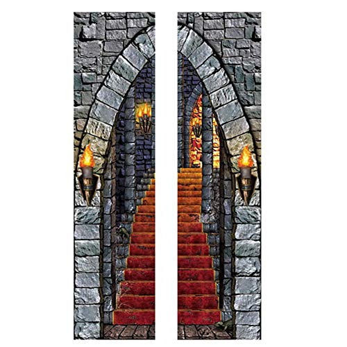 WUYI Halloween Horror Schloss Tür Aufkleber Glas Fenster Aufkleber Quadrat Tür Renovierung Wandaufkleber