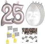 HHO Dekoset Silberhochzeit Silberne Hochzeit Konfetti Luftballons Picker große Zahl