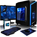 VIBOX Killstreak SA4-42 Komplett-PC Paket Gaming PC - 3,9GHz AMD A4 Dual-Core APU, Desktop Gamer Computer mit Spielgutschein, 22' HD Monitor, Gamer Tastatur & Mouse, Windows 10, Blau Innenbeleuchtung, lebenslange Garantie* (3,7GHz (3,9GHz Turbo) superschneller AMD A4-6300 Dual-Core-APU / CPU-Prozessor, 4GB DDR3 1600MHz RAM, 1TB (1000GB) SATA III HDD 7200rpm Festplatte, 400W 85+ Netzteil, CIT F3 Blau Gaming Geh§use, FM2+ Mainboard, 150Mbs WLAN-Adapter)