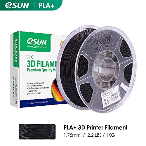 Pla Mais (eSUN PLA Plus (PLA+) 3D Drucker Filament 1,75mm 3D Drucker Materialien Rolle 1kg (2,2 lbs) Durchmessertoleranz +/- 0,05 mm PLA Pro Printing Material für 3D Drucker und Stift(Schwarz))