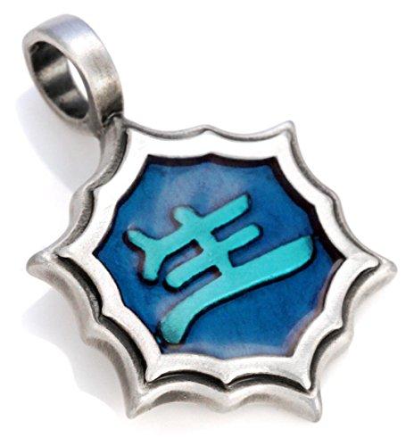 Bico Sheng Ming Pendentif (B47) - vie et destin - Résine Colorée Et Métal Tribal Skate Bijoux Bleu Clair