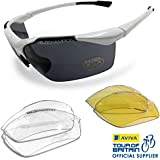 VeloChampion Tornado Cycling Running Sports Sunglasses - White with 3 Sets of Lenses and Soft Pouch