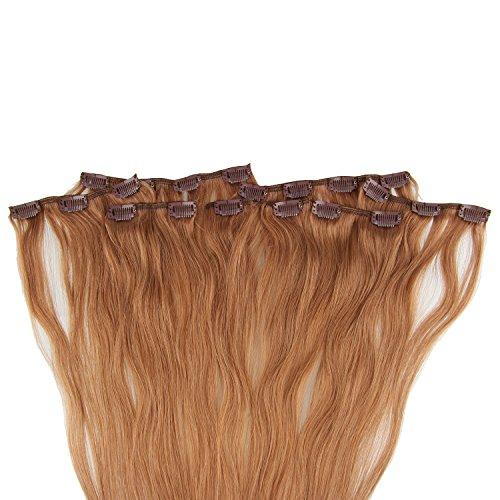 Beauty7 120g Extensions de Cheveux Humains à Clip 100% Remy Hair Haute Qualité #10 Couleur Marron Longueur 60 cm