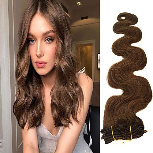 22 pollici /55cm lunghi capelli ondulati clip nelle estensioni dei capelli capelli ricci veri capelli castani reali 70grams 7pcs clip termiche morbide resistenti (22 pollici. # 8)