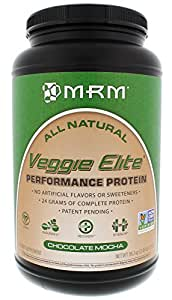 MRM - Veggie Elite Performance Protein, 24 Grams of Flavorful Plant-Based Protein Allergen-Free, Alternative to Whey, Vegetarian & Vegan Approved (Chocolate Mocha, 2.45 lbs)